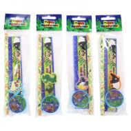 Esőerdő írószer készlet - állatos suliszett 4 db-os (ceruza, vonalzó, radír, hegyező) - négyféle