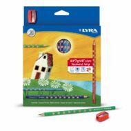 Lyra Groove Slim háromszögletű színes ceruza készlet ajándék hegyezővel - 2821240 - 24 szín