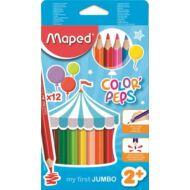 Maped háromszögletű vastag színes ceruza készlet - 12 db/csomag - Color Peps Jumbo