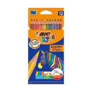 Színes ceruza készlet hatszögletű - BIC Kids Evolution - 12 db/csomag - hajlékony csíkos környezetbarát
