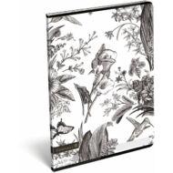 Cornell BnW kockás füzet - A4 - fekete-fehér virágos