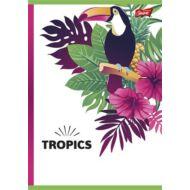 Kockás füzet 96 lapos- A4 - Unipap Tropic / trópusi - piros margós