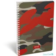 Terepmintás vonalas spirálfüzet - A4 - Peace Red