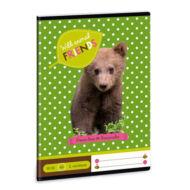 Wild Animal Friends vonalas füzet - A5 - 2. osztályos / 16-32 - macis