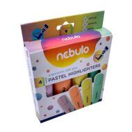 Szövegkiemelő készlet - Nebulo Pastel - 4 pasztell szín/csomag