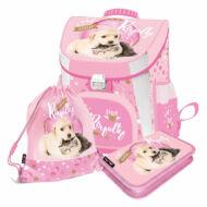 Kutyás-cicás prémium ergonómikus iskolatáska szett - Little Friends Pink 3 in 1