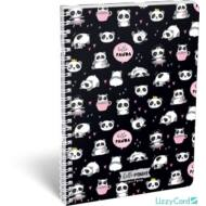 Pandás kockás spirálfüzet - A4 - Lollipop Hello Panda