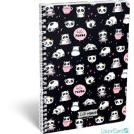 Pandás vonalas spirálfüzet - A4 - Lollipop Hello Panda