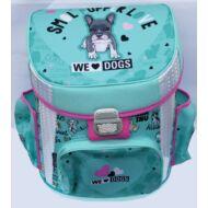 Kutyás prémium merevfalú ergonómikus iskolatáska - We love dogs blue