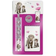 Paso ékszeres kutyás cicás írószer készlet - Studio Pets Rachael Hale kutya és cica suliszett (5 db)