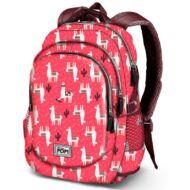 Oh my Pop Cuzco hátizsák, iskolatáska USB csatlakozóval - Lámás