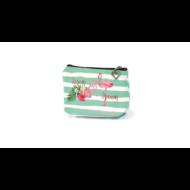 Flamingós cipzáras pénztárca pasztell - csíkos