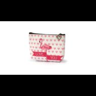 Flamingós cipzáras pénztárca pasztell - Love