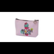 Kaktuszos cipzáras pénztárca pasztell - rózsaszín