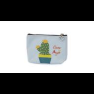Kaktuszos cipzáras pénztárca pasztell - kék