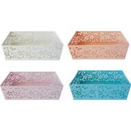 Jegyzettartó, írószertartó - Mesh fémhálós dobozka - vegyes színekben - kicsi