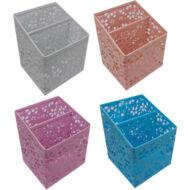 Asztali ceruzatartó - Mesh fémhálós szögletes osztott asztali írószertartó - vegyes színekben
