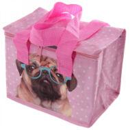 Kutyás uzsonnás táska thermo béléssel - Mopsz - rózsaszín