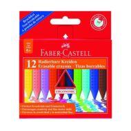 Zsírkréta -  Faber-Castell radírozható háromszögletű - 12 szín