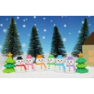 Karácsonyi puzzleradír - hóemberek és fenyőfa - választható