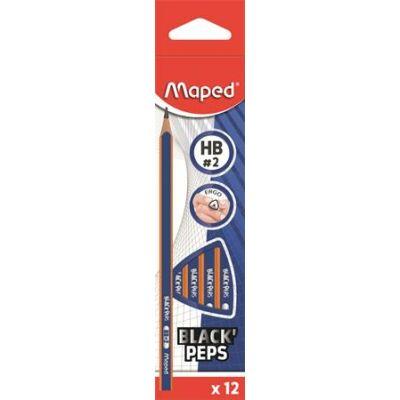 Maped háromszögletű grafitceruza készlet Black Peps Navy - HB (12 db)