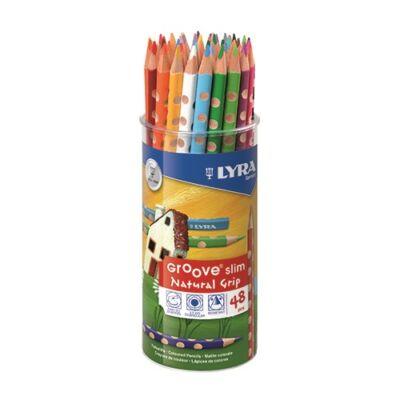 Lyra Groove háromszögletű színes ceruza készlet ceruzatartóban 2x24 szín