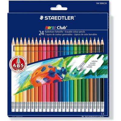 Staedtler hatszögletű színes ceruza készlet radírvéggel - 24 db/csomag - Noris Club