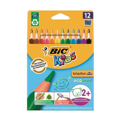 Színes ceruza készlet haromszögletű - BIC Kids Evolution - 12 db/csomag - környezetbarát