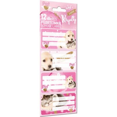 Kutyás cicás füzetcímke Little Friends Pink - 12 db / csomag