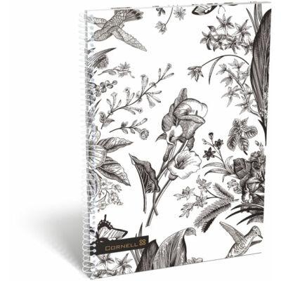Cornell Kolibris virágos kockás spirál füzet A4