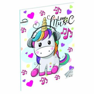 Love Music Unnikornisos A5 hangjegyfüzet énekfüzet