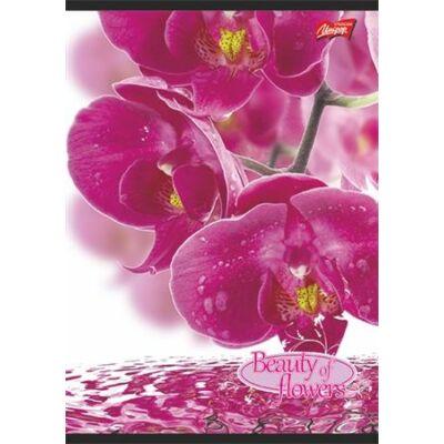 Kockás füzet 96 lapos- A4 - virágos - piros margós
