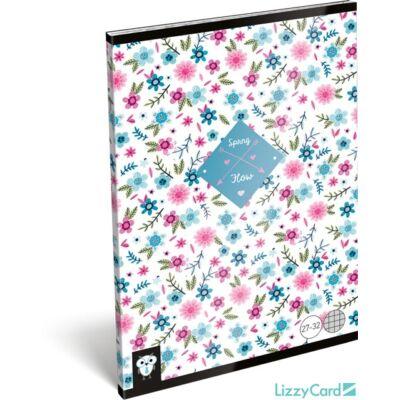 Virágos kockás A5 füzet 27-32 - Kis Bagoly Flower White