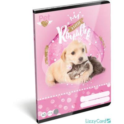 Kutyás cicás kockás füzet - A5 - 27-32 - Little Friends Pink
