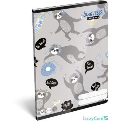 Lajháros kockás füzet - A5 - 27-32 - Lollipop Sloth Vibes