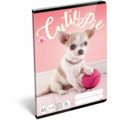 Pet Cutie Pie csivava kutyás 3. osztályos vonalas füzet