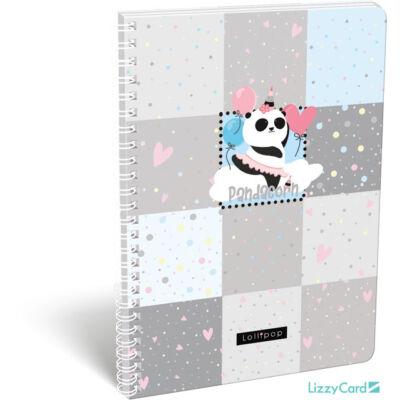 Panda-unikornisos kockás spirálfüzet - A4 - Lollipop Pandacorn