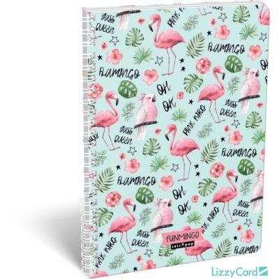 Flamingós kockás spirálfüzet - A4 - Lollipop Funmingo