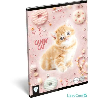 Cicás vonalas A5 füzet 21-32 - Kis Bagoly Candy Cat