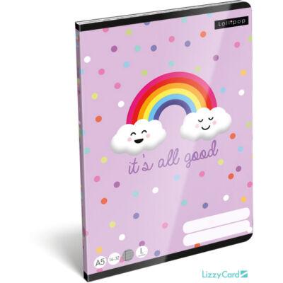 Happy Rainbow vonalas füzet - Lollipop It's all Good - A5 - 1. osztályos / 14-32