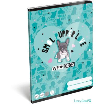 Kutyás vonalas A5 füzet 1. osztály - We love dogs Blue