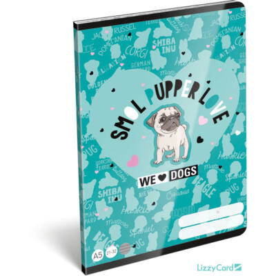 Kutyás vonalas A5 füzet 21-32 - We love dogs