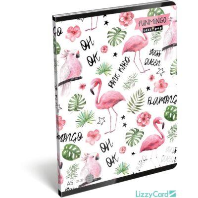 Flamingós vonalas füzet A5