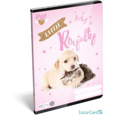 Kutyás cicás vonalas füzet - A5 - 4. osztálytól / 21-32 - Little Friends Pink