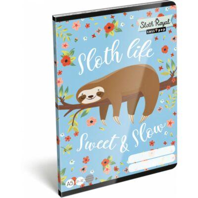 Lollipop Sloth Royal lajháros vonalas füzet
