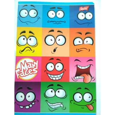 Many Faces Emoji Emoticon vonalas füzet 3. osztályos