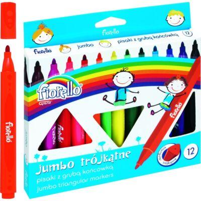 Filctoll készlet - Fiorello Jumbo - vastag háromszögletű - 12 szín