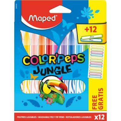 Filctoll készlet Maped Color Peps - 2,8 mm - 12 szín - Jungle + ajándék matrica