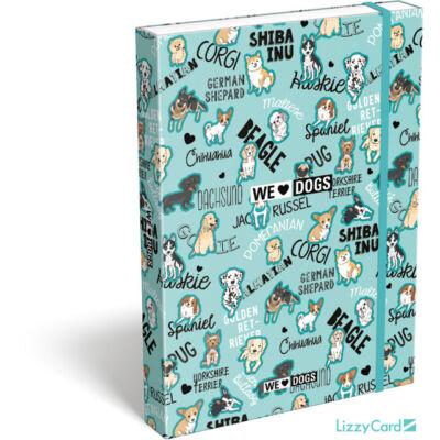 Kutyás A4 füzetbox - We love dogs blue