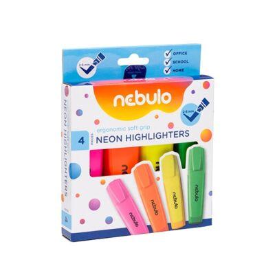 Szövegkiemelő készlet - Nebulo Neon - 4 élénk szín/csomag